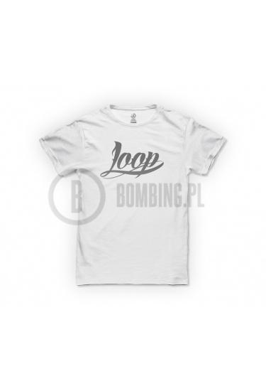 Koszulka logo LOOP biała.