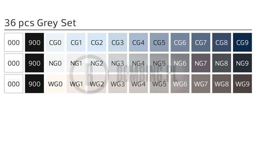 Stylefile Marker Brush 36 pcs set Grey